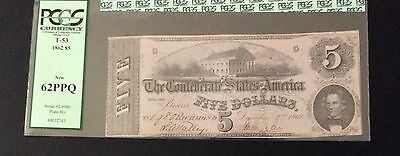 T53  $5 Confederate note PCGS New 62 PPQ. Rare this quality.