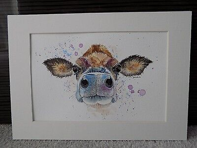 Original Jersey Cow Watercolour Painting, Animal/Wildlife Art, A4 Mounted