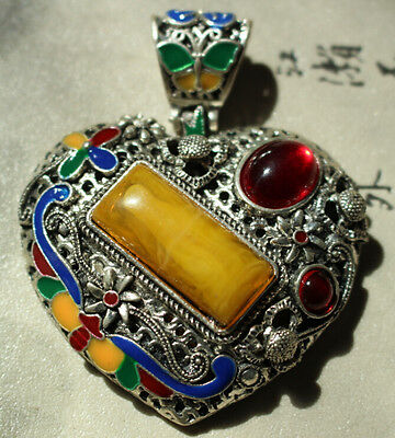 Old silver cloisonne bee wax yellow gem ancient limit technology heart pendant
