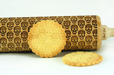 Engraved SKULLS rolling pin wooden pins pastry dough laser rolling pins