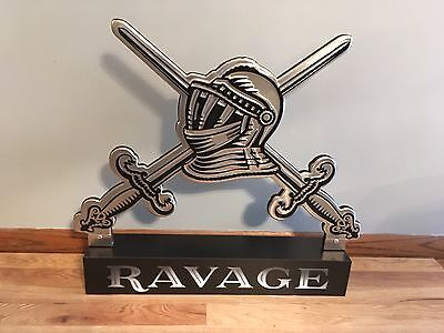 (L@@K) Ravage Wine Coat Of Arms Advertising Display Sign Renaissance Bar Swords