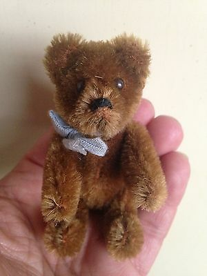 "Rare Antique Vinatge Miniature 3.5"" Mohair Schuco Bear Fully Jointed No Reserve"