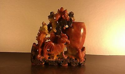 Red soapstone Chinese brush washer w/ monkeys, rooster, bat and magpie figures