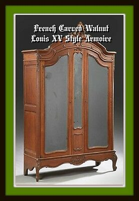 French Carved Walnut Louis XV Style Armoire, early 1900s