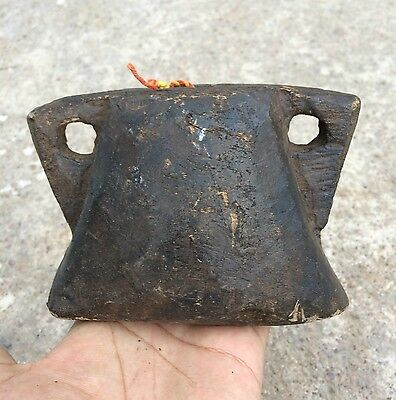 1850's ANTIQUE RARE HAND CRAFTED UNIQUE WOODEN COW BELL, RICH PATINA
