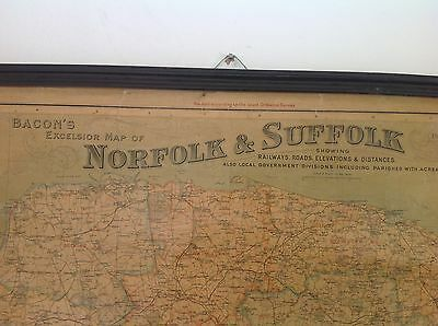 VINTAGE ANTIQUE BACON'S EXCELSIOR SCHOOL WALL HANGING MAP OF NORFOLK &a SUFFOLK.