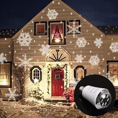 E27 4W LED Moving Four Kinds Snowflake Laser Projector Lamp Bulb For Christmas A