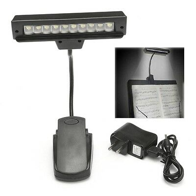 Portable 10 LED Clip-on Orchestra Piano Music Stand Table Light Flexible Reading