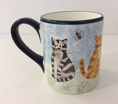 Creatively Yours Mug Karen DeAlwis Cat Coffee Cup Hand Painted Blue White