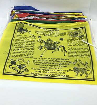 Hands Of Tibet large Tibetan Handmade Prayer flags Wind horse in English