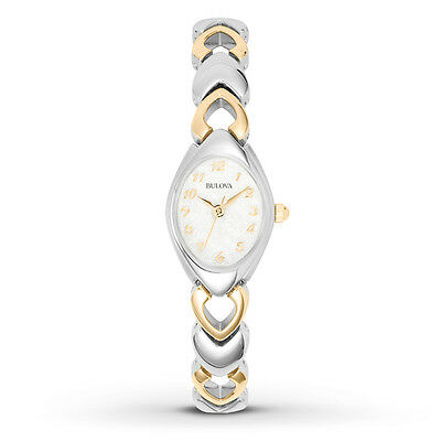 Bulova 98V02 Women's Dress S/S Silver & Gold Tone Bracelet White Dial Watch