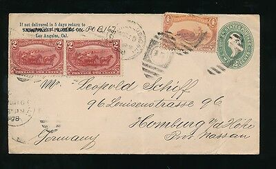 USA 1898 UPRATED STATIONERY 2c + 4c BUFFALO + 2c FARMING x 2 to HAMBURG
