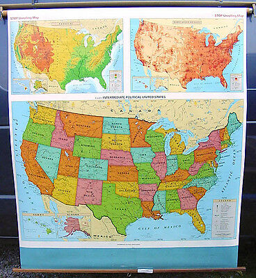 Cram Unites States Classroom School Wall Pull down Map US roll intermediate