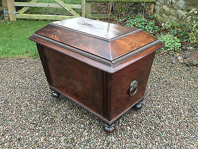 c1800 GEORGIAN FLAME MAHOGANY SARCOPHAGUS CELLERET WINE COOLER  Admiral Brecon
