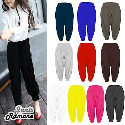 New Kids Girls Plain Hareem Baggy Alibaba Leggings Pants Stretchy Harem Trousers