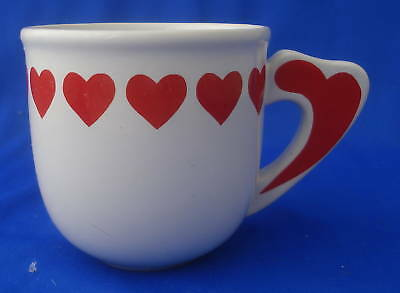 coffee mug cup ceramic red and white heart love 8 oz Valentine's Day