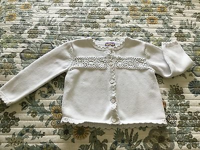 Girls Knit & Crocheted White Cardigan Sweater Size 4T Cute Classic