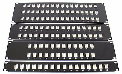 "32 Port 19"" Rack Mount Keystone Frame Panel for Data Cabinets, Patch Connections"