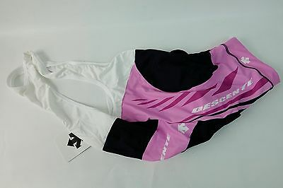 New Descente Helios Women's Cycling Bib Shorts Size M Padded Compression Pink