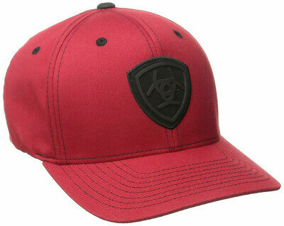 e86166cea20 ARIAT WESTERN MENS Hat Baseball Cap Flex Fit Logo Red 1512404 ...