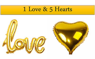1 Gold Love + 5 Gold Hearts Foil Balloons for Wedding Party Venue Decoration