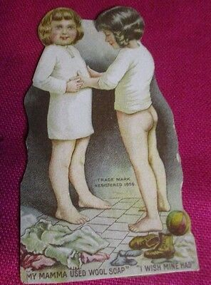 Rare Antique Advertising Stand Up Child Card Wool Soap Swift & Company Chicago
