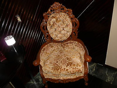 Ornate CARVED TUFTED ANTIQUE FIRESIDE LOUNGE PARLOR ARM CHAIR ARMCHAIR