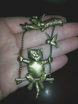 Vintage JJ Happy Kitty Cat On Swing Brass Brooch Pin