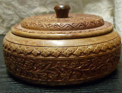 """Vintage Ornate Decorative Hand Carved Round Wood Bowl with Lid 3.5x6.75"""" Floral"""