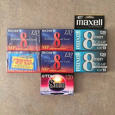 Lot of 7 MP 120 8mm  Camcorder Video Tapes Maxell Sony TDK - NEW SEALED
