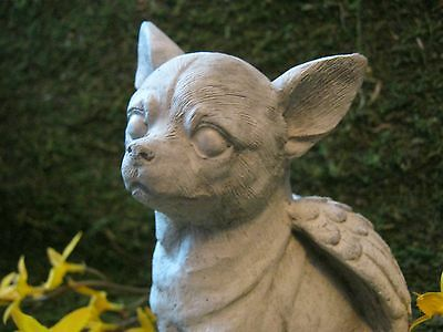 Chihuahua Angel Dog Concrete Cement Statue, Chihuahua Figures Indoors Outdoors