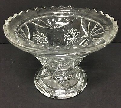 Antique Beautiful Etched Glass Candy Dish Pedestal Base Bowl