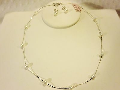 Delicate Freshwater Pearl Necklace Earring Set Sterling Silver Teens Girls