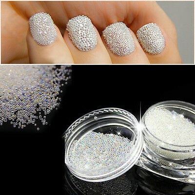 3D Micro Pixie Mermaid Nails Manicure AB 0.6mm Crystal Glass Caviar Beads Tiny