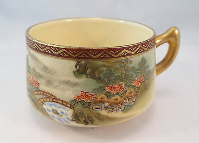 Vintage Japanese Satsuma Ceramic Porcelain Teacup Village Scene Tea Cup Japan A