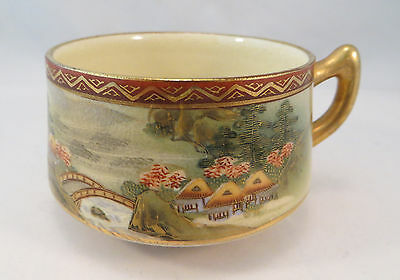 Vintage Japanese Satsuma Ceramic Porcelain Teacup Village Scene Tea Cup Japan B
