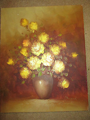 VINTAGE yellow rose floral flower original hand painted oil PAINTING signed