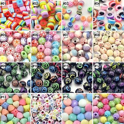100/500pcs Mixed Colour Assorted Design  Beads Eco-friendly Material