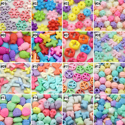 100/500pcs Mixed Colour Assorted Design Plastic Beads Eco-friendly Material