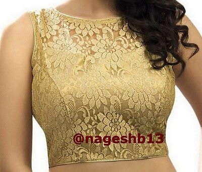 Readymade Saree Blouse, saree blouse, Golden Net Padded Choli, Sleevless Blouse