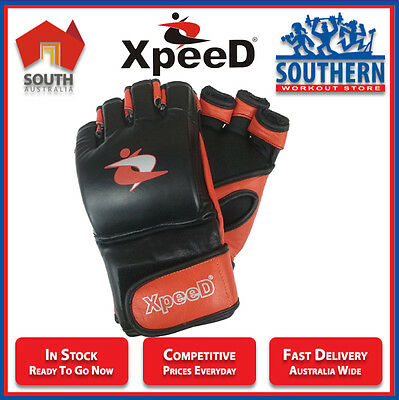 Xpeed Sport Leather MMA Gloves Impact Protection Grappling Sparring Training