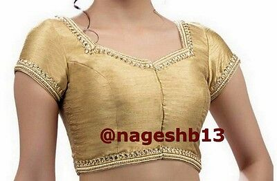Readymade Saree Blouse, saree blouse, Gold Kundan Work Front Open Sari Blouse