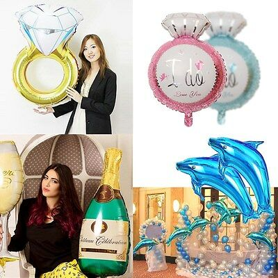 Giant Diamond Ring Dolphin Large Foil Balloons Birthday Wedding Party Decoration