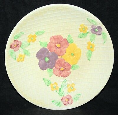 """Wade Heath - 9"""" Shallow Bowl - Yellow Basket Weave with Flowers - c1940"""