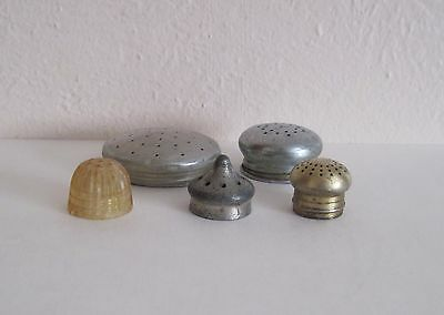 Lot of FIVE Different Vintage Mixed Metals Replacement Shaker Lids