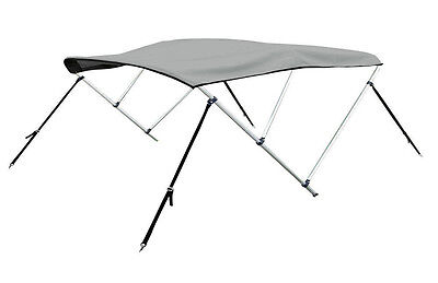 "New Bimini 3 Bow Top Boat Cover Gray 79""-84"" With Rear Poles & Integrated Sock"