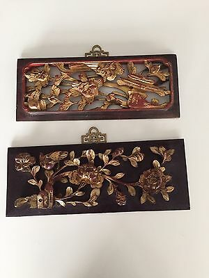 2 Antique Chinese Carved Wood Architectural Panels With Gold Leaf