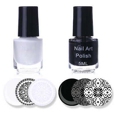 2pcs Nail Art Stamp Stamping Polish White & Black Color Nail Varnish Stamp