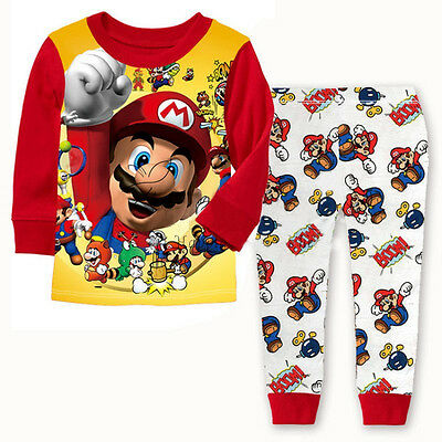 Cartoon Kids Toddler Boys Super Mario Cotton Sleepwear Nightwear Pajamas Set