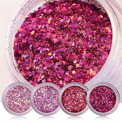 Nail Art Glitter Powder Shiny Sequin Red Pink Purple Colorful Manicure Accessory
